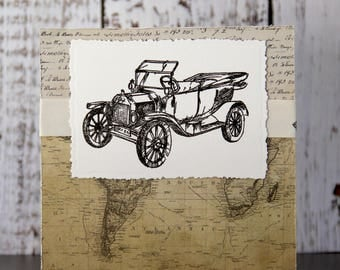 Masculine card with old car