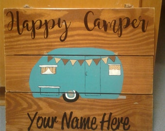 Happy Camper Hand Painted Wood Sign, Door Hanger, Personalized, FREE SHIPPING!