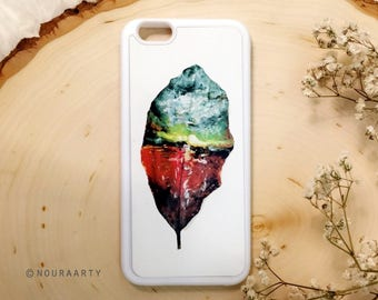 Artwork phone case, iPhone case, phone accessories, abstract painting, landscape on leaf