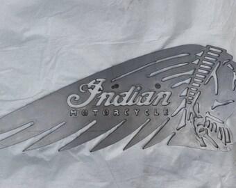 "Metal ""Indian Motorcycle"" Sign"