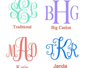 Monogram Decal, Yeti Decal, Water Bottle Decal, Wedding Party Decal, Personalized Decal, Monogram Sticker, Car Decal, .99 Shipping