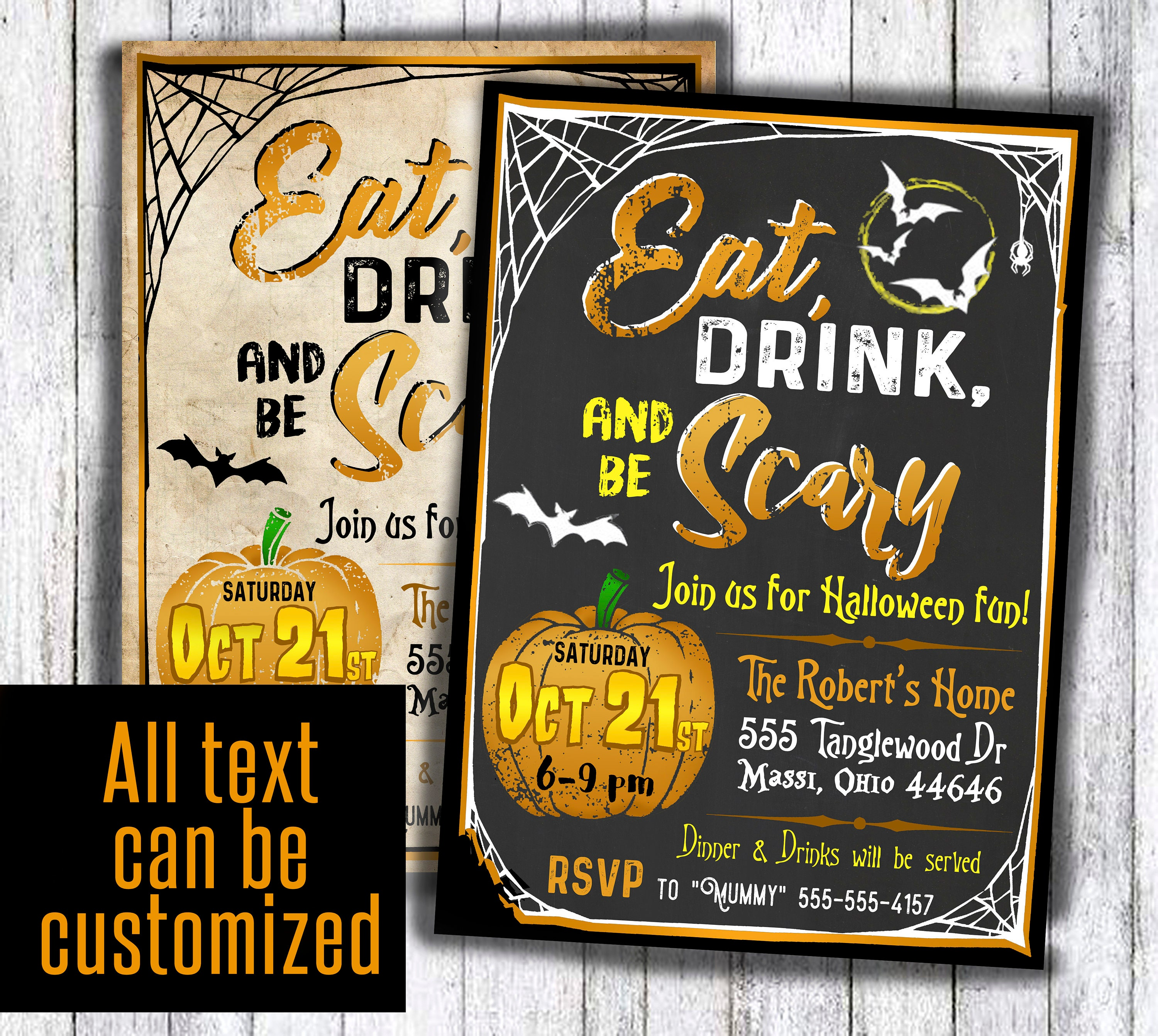 Eat Drink and be Scary invitation antique adult Halloween party ...
