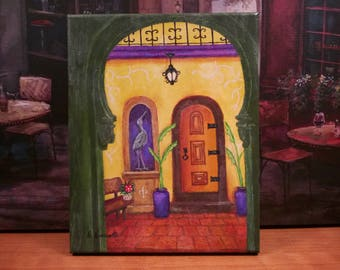"New Orleans Art // ""Casa de Lis"" // Southwest Art // Spanish Style // Hacienda // Courtyard // Original Painting // Signed by Artist"