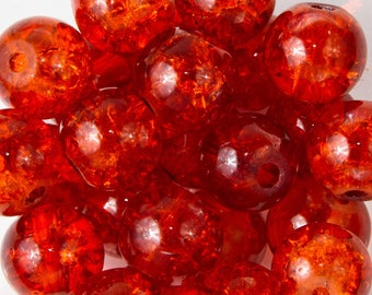 25 Crackle glass beads orange 8mm
