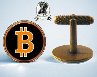 Bitcoin Cufflinks, Cufflinks Bitcoin, crypto currency, crypto currency Cufflinks, jewelry gift, gift for the financial team, gift for men