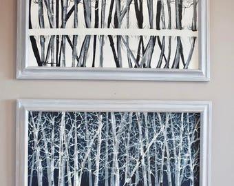 "Birch Grove - 18""x24""-2 pc set- White and  Black - framed-acrylic"