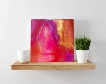 "12x12 Wooden Panel Abstract Resin Painting--""Peaches"""