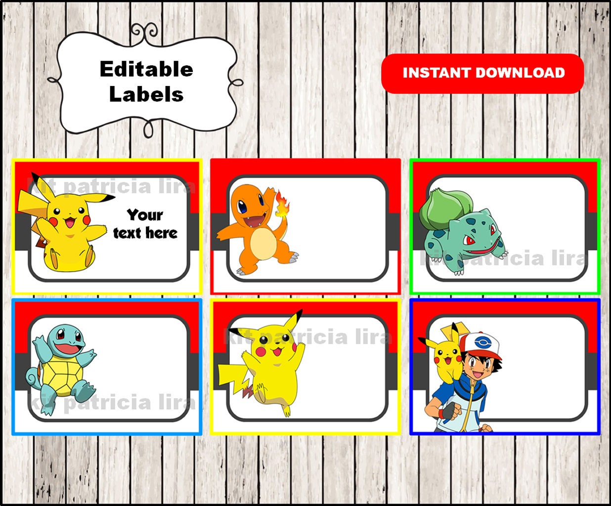 pokemon printable cards tags book labels stickers kids