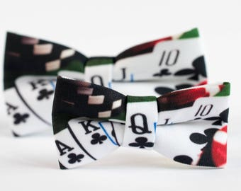 Men Bowtie, Flush, Playing Cards, Poker BowTie, Cards BowTie, Gambler Bowtie, Gift for Gambler, Casino Bow tie, Mens bow ties, Poker cards