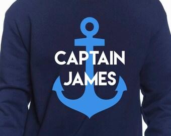 Personalized Captain Sweatshirt -  Custom Captain Hoodie - Captain Dad - Captain Grandpa - Custom Sailing Gift