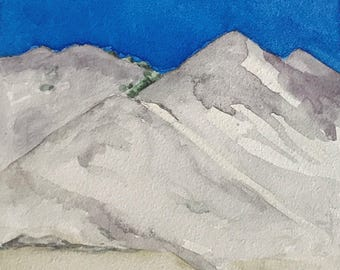 Mountains Painting, Pop Art, Watercolor landscape on 4 x 4 Inch Wood Panel Board
