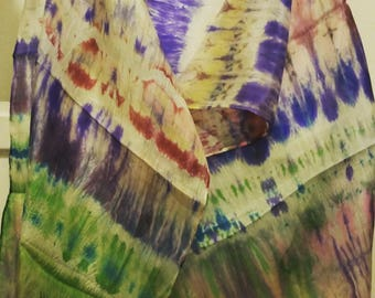 Hand Painted Silk Scarf - Multi-coloured green, white, purple, blue, yellow, red, brown. Handpainted Woman's Silk Scarf, Unique, Designer