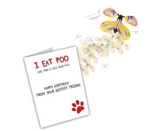 Dog Birthday Card. Funny Dog Birthday Card. Birthday Card Dog Lover. Pet Birthday Card. Dog Owner Card. Magic Flying Butterfly