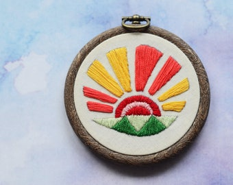 """SALE! Sunrise embroidery hoop art in 3"""" hoop. Home decor; embroidered art; bold sun rays and fields design"""