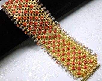 Glass Beaded Bracelet, Beading, Slite Magnetic Clasp
