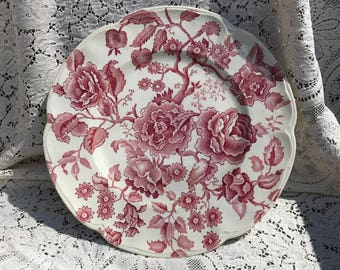 "Johnson Bros England,  vintage dinner plate, ""English Chippendale"", pink or red, chintz pattern.  10"" plate."