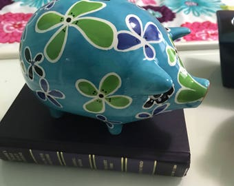 Annaco Creations Ceramic Blue PIG PIGGY BANK with Painted Flowers all over it
