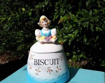 Vintage Cookie Biscuit Jar Dutch Girl Made in Japan
