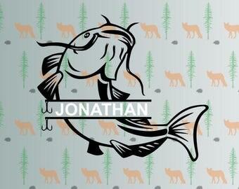 catfish svg, catfish monogram, svg files for cricut, silhouette studio files, instant download clip art, cutting template, vector files