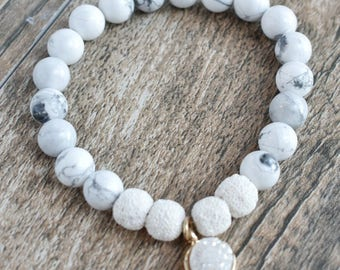 Howlite Diffusing Bracelet with White Lava Beads and White Druzy Stone Charm 7.5""