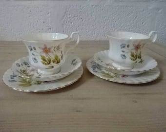 "Richmond Bone China ""Wild Anemone"" Trio/Pink & Blue Flowers/Vintage China/English Bone China/Vintage Trio/Afternoon Tea/Gifts for Mum/1960s"
