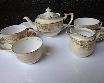 Vintage Noritake Tea Set/Gold Cream & White/Teapot/ Sugar Bowl/Creamer/2 Tea Cups/2 Saucers/Vintage Tea Set/Noritake Cup and Saucer/1950s