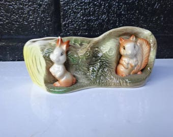 Withernsea Eastgate Fauna Rabbit & Squirrel Planter/Withernsea/Inside Planter/Home Decor/Pottery Planter/Kitsch/Vintage/Collectable/1960s