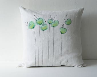 Removable cushion in vintage fabric issued from recycled old linens, t hand painted flowers