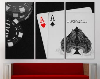 Poker Cards canvas Poker Cards print Poker Cards wall decor Poker Cards wall art Cards large Poker print Poker wall decor Poker wall art