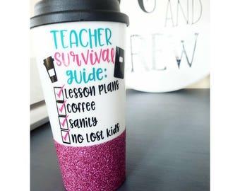 Teacher Checklist Mug // Teacher Mug // Teacher Gift // Funny Gift for Teacher // Funny Teacher Gift // Teacher Mug // Travel Mug // Glitter