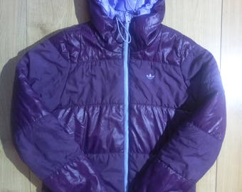 Adidas Originals Womens Puffy Hooded Jacket Puffer Purple