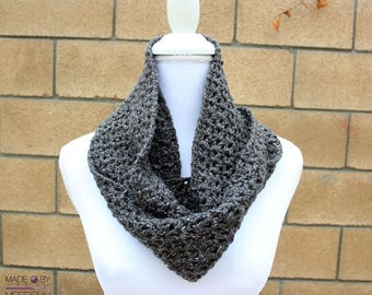 Heather gray infinity scarf, wraparound scarf