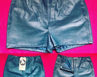 Vintage Carbella Petrol Blue Faux Leather Shorts - UK Size 10/US Size 6