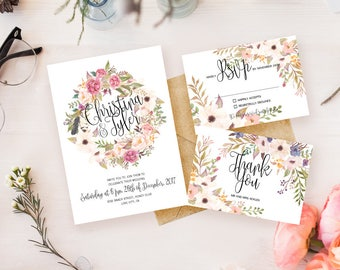 Floral Wedding Invitation Printable Roses Wedding Invitation Suite Rustic Wedding Invite Boho Wedding Invite Vintage Wedding Invite Romantic
