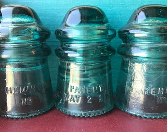 Aqua colored Hemingray No. 9 glass insulators - Patented May 2 1893 - aqua insulators - telephone insulators - glass insulator - aqua glass
