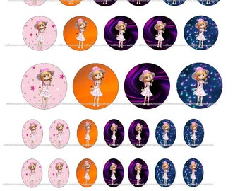 Series 235 - 40 Digital Images girl creations cabochons - sending by e-mail