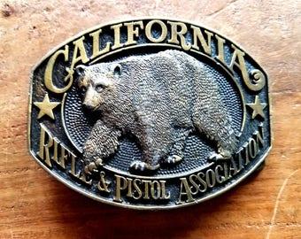 California Rifle & Pistol Association Brass Belt Buckle, California Rifle and Pistol Association, Vintage Belt Buckle, Belt Buckles