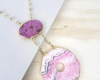 Rhodochrosite & Pink Agate Necklace