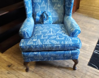 Nautical Theme '40s Wing Chair