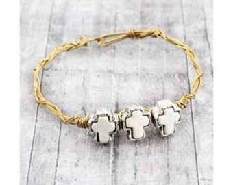 Triple cross wire bracelet