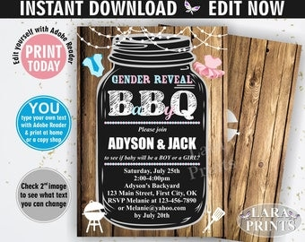 INSTANT DOWNLOAD / edit yourself now / BBQ / Gender reveal / Baby shower / invitation / invite / chalkboard / pink / blue / sports BSBBQ1