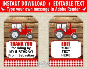 INSTANT DOWNLOAD / edit yourself now / Printable / Treat Bag toppers / Favor Tags / Birthday Party / tractor / Fall / farm / tag / FTractor1