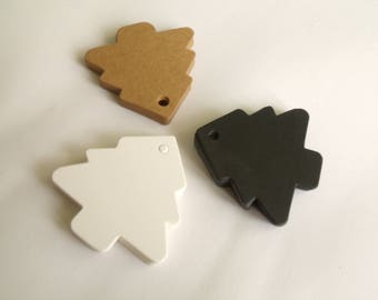 10 labels cardboard 5.5 cm Christmas tree tags