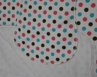 Polka dots flannel baby blanket hemstitched