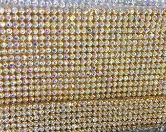 Rhinestone sheets / rhinestone fabric , 46 inches long and 13 inches wide stone size 2mm Iron-on Beautiful Rhinestone Mesh