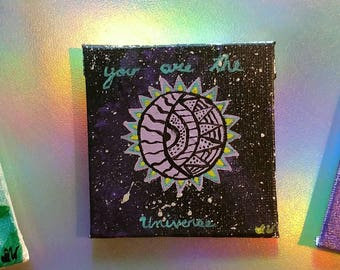 Sun and moon, spiritual art decor, universe home decor, hand painted canvas, hand painted Galaxy, boho kitchen magnet, boho home decor