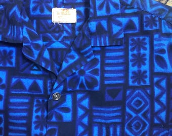 Tiki it to me! Tiki-style 1960s shirt in a variety of blue hues