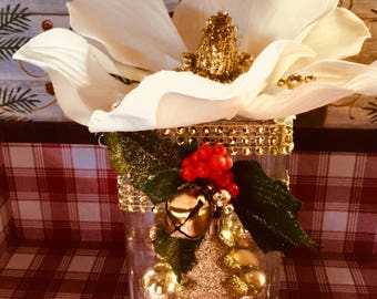 Christmas Magnolia Floral Arrangement/Magnolia Blossom/Glass Vase/Gold Balls/Gold Bells/Holly Leaves and Berries/Gold Bling/Tree Shape Charm