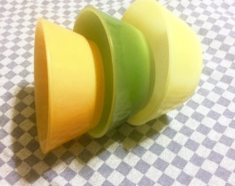 Set of 3 Vintage Anchor Hocking FireKing Ware Small Colored Milkglass Bowls