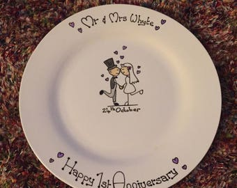 Hand painted personalised wedding day, anniversary plate